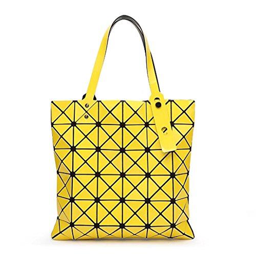 Laomu ologramma geometrico Romboide split fold plaid borse a tracolla borsetta per donne Tote Orange Orange