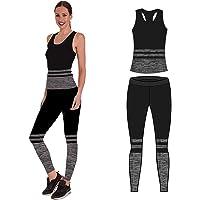 Bonjour - Abbigliamento sportivo da donna/canotta e leggings (set da 2 pezzi, top e leggings), set da palestra o per yoga, elasticizzato