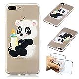 CaseLover iPhone 7 Plus Hülle, Transparent Tasche Schutzhülle Mode Handy Case iPhone 7 Plus/8 Plus 5,5' Silikon Case, Weiche TPU Handyhülle Shockproof Handy Cover, Panda und Babyflasche