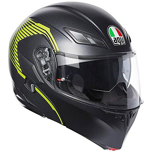 Desmontable Casco Modular AGV Compact ST Vermont Negro Mate Amarillo Fluo Matt Black Yellow Flip Up Helmet, amarillo