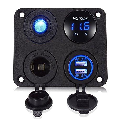 NAttnJf Presa di Alimentazione per Auto Kit Pannello interruttori on-off con Presa di Corrente LED 12V Voltmetro Caricabatteria da Auto USB