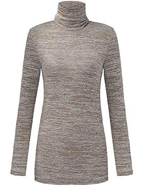 Auxo Mujer Jerseys Suéter Básico Cuello Alto Manga Larga Jumper Top de Punto Pullover Camisetas Camisas Apretado...