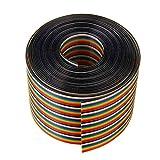 RISHIL WORLD 5M 1.27mm Pitch Ribbon Cable 50P Flat Color Rainbow Ribbon Cable Wire Rainbow Cable