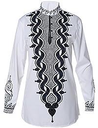 Meijunter Herren Weiß Beiläufig afrikanisch Stil Tribal Hemd Gedruckt Lange Ärmel Dashiki T-Shirt Tradition Kleider