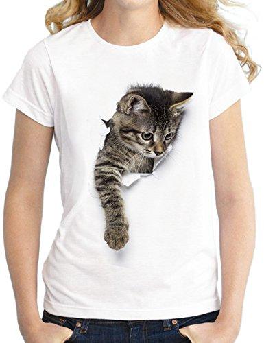 SOMTHRON Männer Damen Kinder Familie 3D Print Katze T-Shirt mit lustigen Grafik Print Soft Crew Neck Casual Top Tees(WWH6,XL)