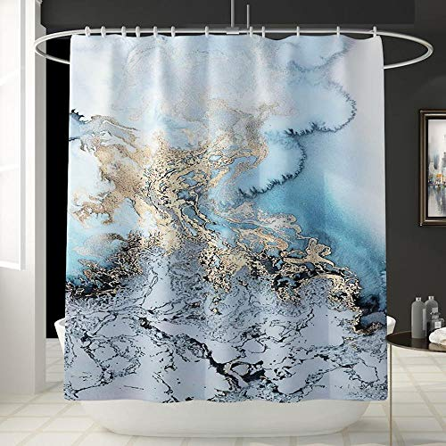 Hhartlife Duschvorhang Vier Sets Duschvorhang quadratisch Pad U-Form Pad WC Sitz 12 Haken Wasserdicht Anti-Rutsch-Muster Badezimmer Marmor Shower Curtain -