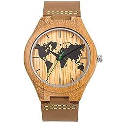 Reloj de pulsera de cuarzo vintage para hombre Sentai Reloj de madera para hombre hecho de madera natural hecha a mano de bambú correa de cuero genuino Marrón
