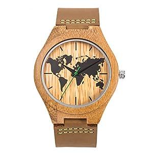 Reloj de madera de cuero, MUJUZE Reloj de brújula de bambú hecho a mano natural, Relojes de pulsera de hombres con correa de vaca marrón