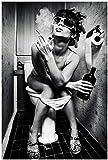 DOLUDO Schwarz und Weiß Edition Poster Sexy Frau auf Toilette hält weinflasche Leinwand malerei Wandkunst Bild Für Wohnzimmer Dekoration 40 x 60 cm (kein Rahmen)