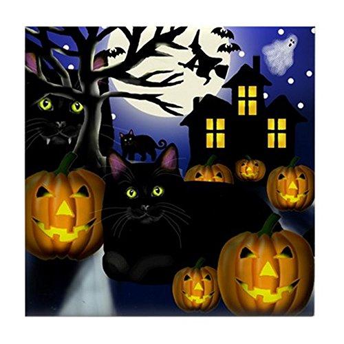 CafePress-Chat Noir Halloween-pour carrelage Dessous de Verre, boissons Dessous de Verre, petite Dessous de Plat