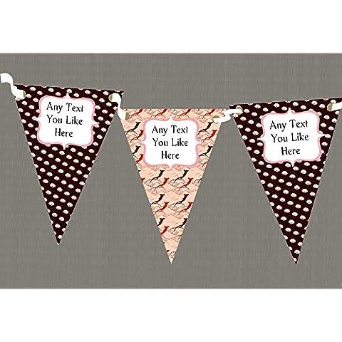 Rústico y de color marrón rosa personalizable decoración para árbol de - cartel de fiesta con narices banderas de cumpleaños, Large