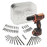 Black+Decker BDCDD12AT-QW - Taladro atornillador Ultra Compacto 10.8V 1.5Ah Litio con 50 accesorios y lata