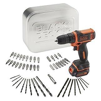 BLACK+DECKER BDCDD12AT-QW – Taladro atornillador 10.8V con batería litio 1.5Ah, 50 accesorios y caja metálica