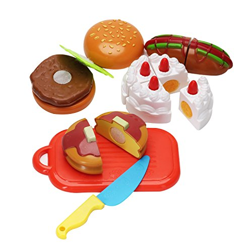 Juego de Imaginación Hamburguesa Pasteles Juguetes de Corte de Frutas para Niños