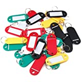 RICISUNG Coloured Plastic Key Fobs Luggage Id Tags Labels Key rings with Name Cards