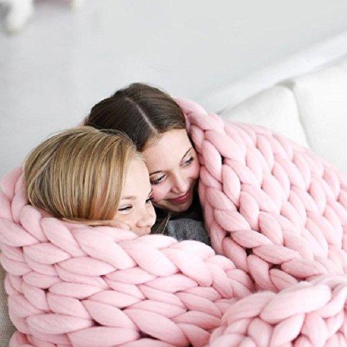 SHASHA Decke Stricken Knitting Throw Blankets Garn Gestrickte Decke Handgestrickte Warme Chunky Knit Decke Merino Weiche Wolle Dickes Garn Sperrigen Sofa Throw,A-200 * 200 - Merino Knit Hat
