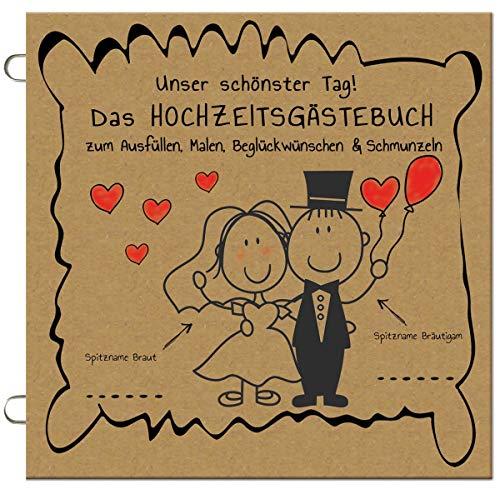 Paul´s Papierfabrik Das lustige Hochzeitsgästebuch (50 Stück) Ausfüllen, Malen, Beglückwünschen, Hochzeit Gästebuch Alternative mit Fragen, Gastgeschenk, Hochzeitsspiel