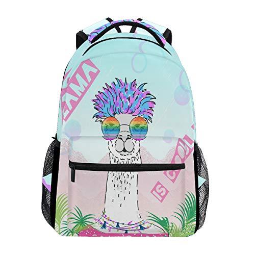Süßer Alpaka mit Brille Laptop Rucksack, Sommer, Cool Llama wasserabweisend, Studenten, Reisen, Computer Laptop, Rucksack für Herren, Damen, Jungen, Mädchen