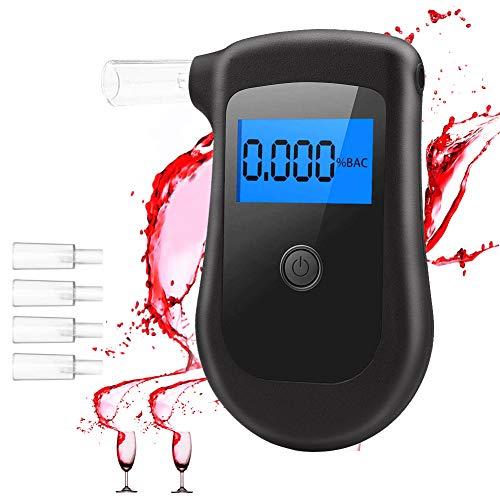 seenlast Alkoholtester, Digitaler Alkohol Tester Tragbares Alkohol-Atemtestgerät Breathalyzer Promilletester Atemalkoholmessgerät Polizeigenau mit LCD-Bildschirm Und 4 Mundstücken