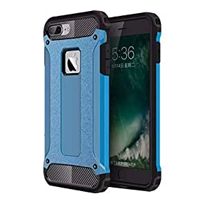 Armer Cover for iphone 7 Plus, Arroker Shockproof Soft Rubber TPU with PC Shell Back Protection Case for iphone 7 Plus 5.5 inch (Blue)