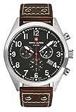 Swiss Alpine Military Leader Chrono 1293.9537sam Schweizer Uhr Herrenuhr Chronograph Stahl schwarzes Zifferblatt Armband Leder braun