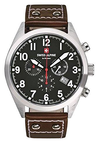 Swiss Alpine Military Leader Chrono 1293.9537SAM Reloj Suizo Hombre Cronógrafo Acero Esfera Negra Correa Cuero Marrón