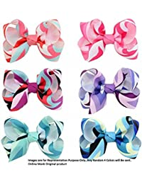 """Online Monk Original - Limited Edition Baby Girls Colorful Rainbow Grosgrain Ribbon 3"""" Hair Bows with Alligator Clips - (All Different Rainbow Colors) - Pack of 4 Pcs of 3 Inch Bows"""