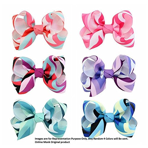 Online Monk Original - Limited Edition Baby Girls Colorful Rainbow Grosgrain Ribbon 3
