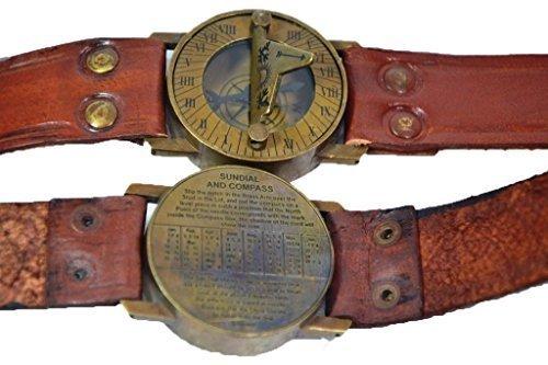 Hello.Nauticals.Store Handgelenk-Messing-Kompass und Sonnenuhr, mit Lederarmband, Sonnenuhr