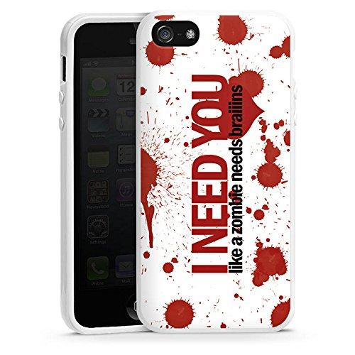 Apple iPhone 4 Housse Étui Silicone Coque Protection Love Zombie Phrases Motif Housse en silicone blanc