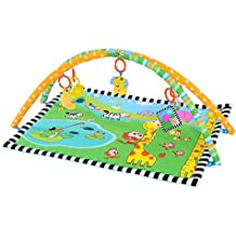 Ametoys Alfombrilla de jugar para Bebé Acolchado Almohadón Suave Manta Lavable Patrón de Jardín Animales 90 * 66 CM
