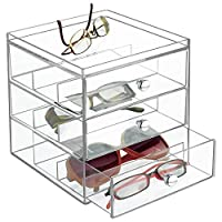 mDesign Stackable Plastic Eye Glass Storage Organizer Box Holder for Sunglasses, Reading Glasses, Accessories - 3 Divided Drawers, Chrome Pulls