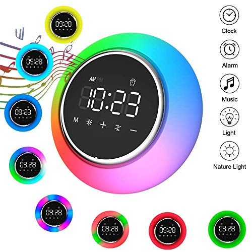 Airmood Wake-Up-Licht, 7 Farben Wake-Up Light Bluetooth Music Night LED Display Touch Control Snooze Mode und 6 Natural Sounds mit Sunrise Sunset Simulator Mode