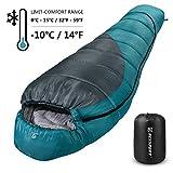 Bessport Sacco a Pelo a Mummia, Comfort 15 Gradi - Limit -10 Gradi Compatto Sacco a Pelo Invernale per Trekking Campeggio Alpinismo, Leggero (Grey)