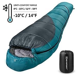 Bessport Schlafsack Winter   -10°C Outdoor Mumienschlafsack für Erwachsene, Camping – Ultraleichter und Wasserdichter – Warm Sprüh Gebundene Baumwolle Füllung