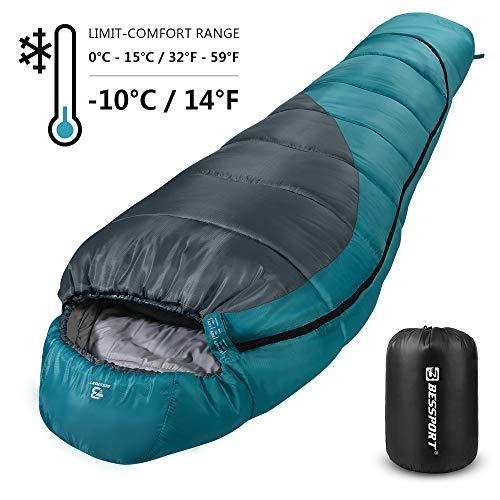 Bessport Schlafsack Winter | -10°C Outdoor 4-Season Erwachsene Mumienschlafsack 400g/m² Baumwolle Füllung, Wasserdicht für Camping, Outdoor (Blue&Grey)