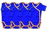 Kurzarm-Baby Wickelbodys 4er Pack blau/orange Grösse 68 Body Unisex aus 100% Baumwolle mit Druckknöpfen