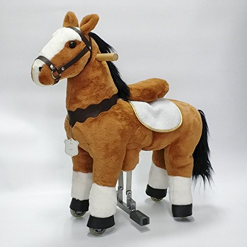 UFREE Action Pony, Unique Rocking Horse. It Is Walking Horse, Plush Toy Pony Like Real , Height 35'', Present for Kids 3 to 5 Years (white forehead)