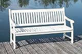MSZ Design Gartenbank Hemingway 3-sitzig Eukalyptus weiß mit Armlehne