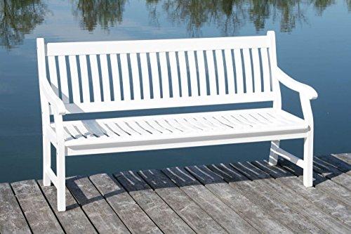 MSZ Design Gartenbank Hemingway 4-sitzig Eukalyptus Weiß mit Armlehne