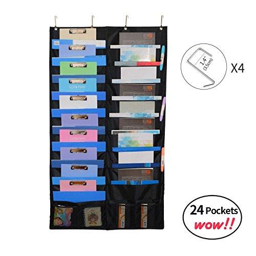homyfort tabla de bolsillo de almacenamiento para colgar organizador de archivos – Soporte de pared revistero, perfecto para el hogar, escuela u oficina Bill con 3 ganchos (20 bolsillos, color negro