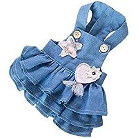 YQYQYQ Pet Dog Denim Strap Dress Teddy Clothes Spring Spring Hombres Y Mujeres Style Pomeranian Clothes Primavera Otoño, Azul, M: Busto 38 Longitud De Espalda 28