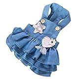 YQYQYQ Pet Dog Denim Strap Dress Teddy Clothes Spring Spring Men and Women Style Pomeranian Clothes Spring Autumn, Blue, M: Bust 38 Back Length 28