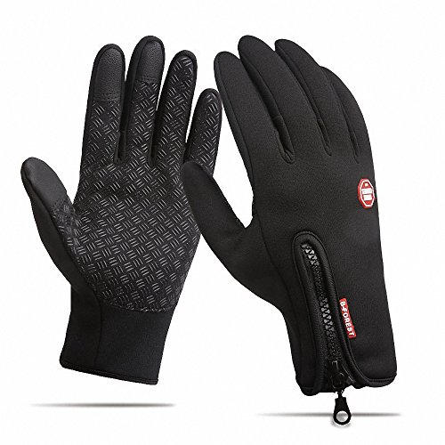 Anti-slip Motorcycle Winter Warm Outdoor Sports Hiking Cycling Men Women Full Finger Touch Screen Gloves Black