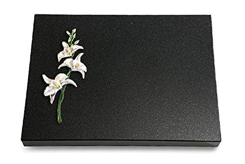 MEMORUM Grabmale Grabtafel, Grabplatte, Grabstein, Grabkissen, Urnengrabstein, Liegegrabstein Modell Pure 40 x 30 x 3-4 cm Indisch-Black-Granit, poliert inkl. Gravur (Bronze-Color-Ornament Orchidee) (Indische Orchidee)