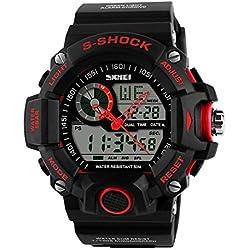 Sport Men's Multifunction Waterproof Analog Digital Dual Time Display LCD PU Plastic Wrist Watch Red