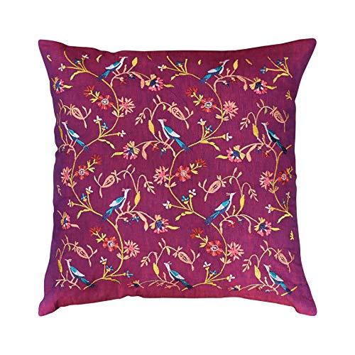 Toll2452 Parakeet - Funda de Almohada Decorativa de algodón con diseño de árbol de la Vida, Bordada...