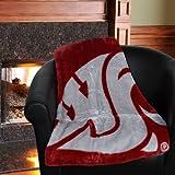 NCAA Washington State Cougars School Spirit Royal Plush Raschel Throw Blanket, 50x60-Inch