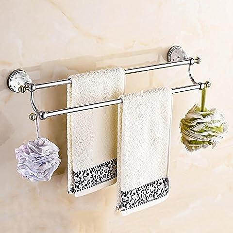 LYNDM Poco lujo cristal porta Toalla Toallero de latón sólido acabado oro accesorios de baño productos montados en la pared, blanco(#MJG0121)