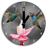 Deux colibris volant sous les tropiques B & W détail, diamètre horloge murale 30cm avec des mains carrées noires et visage, objets de décoration, Designuhr, composite aluminium très agréable pour salon, bureau